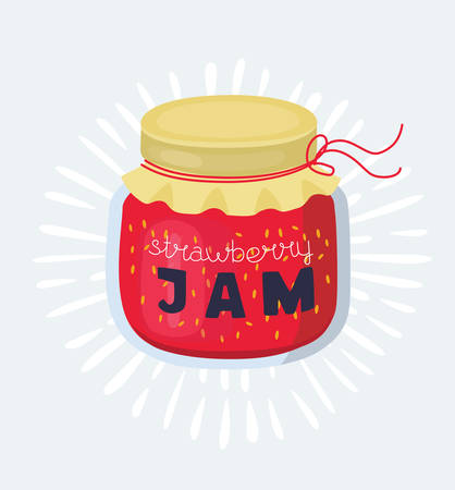 Vector cartoon illustration of stawberry jam jar on a white background
