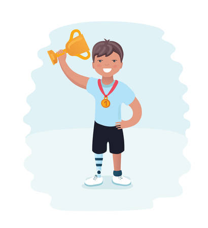 Vector cartoon illustration o f Little boy on prosthes. Young winner boy disabled athlete on a white background. Illustration