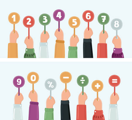 Vector cartoon funny illustation set of hands holding score cards. Numbers set and sighns in different colors.