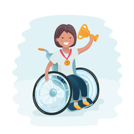 Vector cartoon illustration of handicapped girl in a wheelchair win and holding gold winner cup and firs place medal.