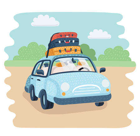 Vector cartoon illustration of Travel Car parking in the countryside. baggage for family trip. Luggage trunks suitcase on top. Travel or relocation, migration, trip concept. Funny object.