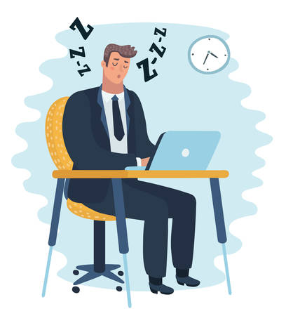 Vector cartoon illustration of Businessman falling asleep at his work, sitting at the table. Business concept in sleeping, dozing, relaxing, take a break or lazy at working. Character on isolated back  イラスト・ベクター素材