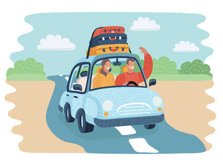 Vector cartoon illustration of Riding man traveling by car on the countryside road. Happy couple rides in the car. Sutecases on top. Funny human characters. Vettoriali