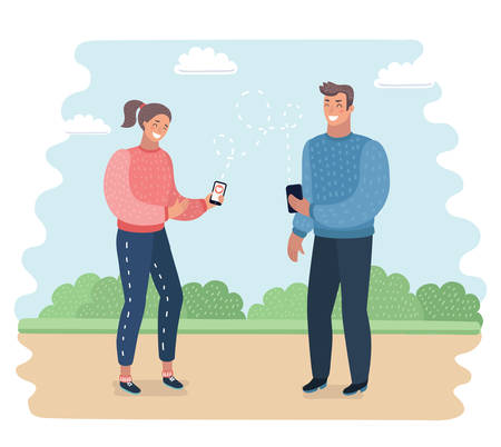 Vetor cartoon illustration of Talking on phone vector concept. Flat design. Telephone addiction. Smiling couple holding hands and talking on mobiles. Conversation and communication each other outdoor.