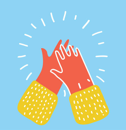 Vector cartoon illustration of Applause human hands icon. Colorful graphic in modern style.