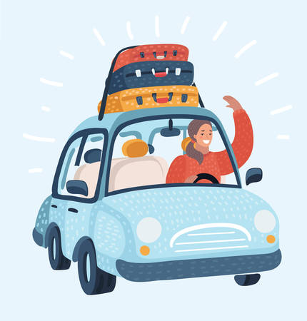 Vector cartoon illustration of a woman driving Car with Luggage trunks suitcase on top. Travel or relocation, migration, trip concept. Funny female character and object on white background.
