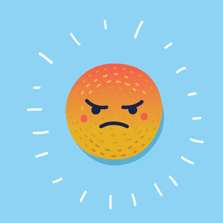 Vector cartoon illustration of angry emotion reaction symbol icon vector. Hand drawn funny icon of blue background. Illustration