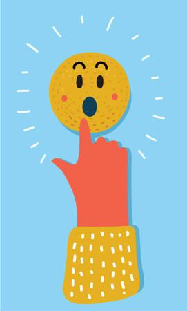 Vector cartoon illustration of pointing finger human hand push on wondering face smile icon. Illustration