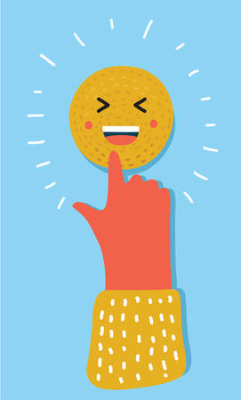 Human hand touching Smiling face icon Illustration