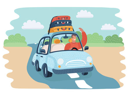 Happy man rides in the car with Suitcases on top Ilustracja