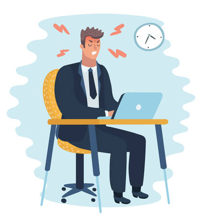Vector cartoon Angry office man character sittin at the table. Hard work. Character on isolated backround. Иллюстрация