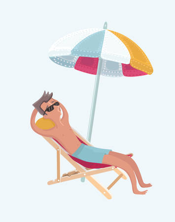 Vector cartoon illustration of funny man with the beard lying in a chaise longue on the beach. Person take rest on holiday while sitting under umbrella on the beach.