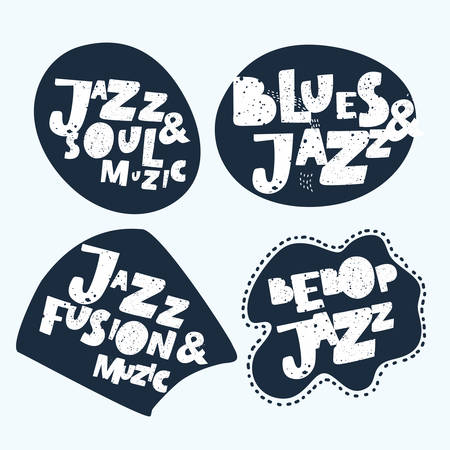 Jazz typographic vector expression illustration background stickers. Music hand drawn lettering composition of Jazz, Blues, Fusion, Soul, Bebop music with music notes colorful design.