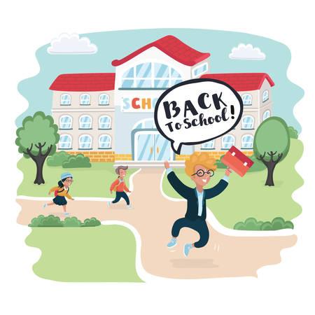 Vector cartoon illustration of happy smart boy jump, school building behind. Welcome back to school! Cute school kids. Balloon speech