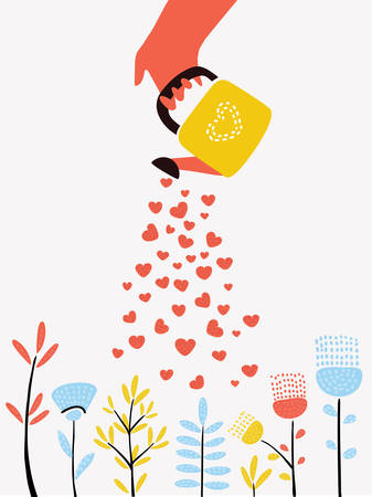 Vector cartoon funny illustration of plant and watering can pour hearts. Isolated on white background.