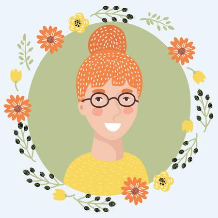 Illustration vectorielle de l'icône de visage de jeune femme dessin animé. Fille rousse assez intelligente sur des lunettes. Portrait d'avatar féminin décoré de fleurs