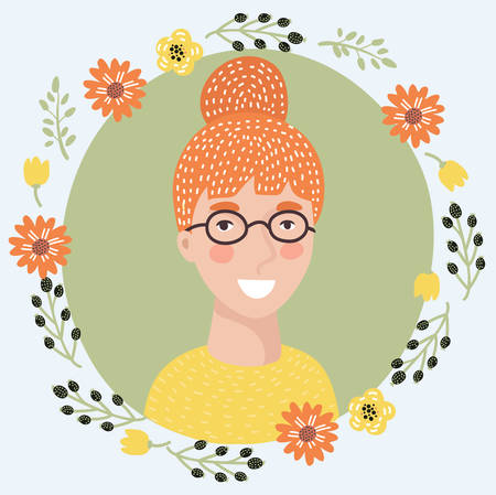 Vector illustration of cartoon young woman face icon. Pretty intelligent redhead girl on glasses. Female avatar portrait decorated with flowers