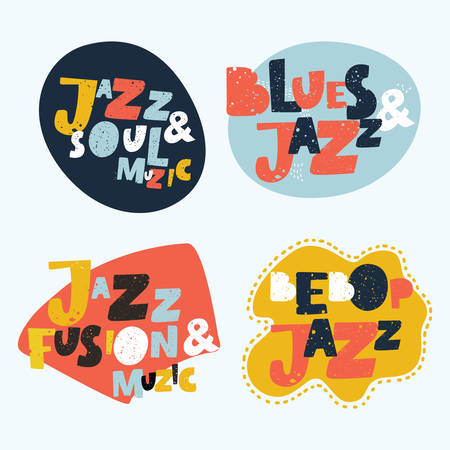 Jazz typographic vector brightest colorful expression illustration  stickers. Music hand drawn lettering composition of Jazz, Blues, Fusion, Soul, Beebop music with music notes colorful design.