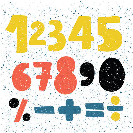 Vetor cartoon set of hand written drawn numbers. Different sights lettering, numbers and punctuation marks, grunge font style. Division, exclamation point, multiplication, percent, equals, minus