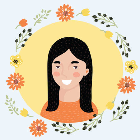Vector illustration of cartoon young woman face icon. Pretty Spanish girl. Female avatar portrait decorated with flowers. Natural beauty.
