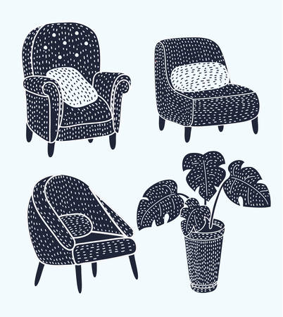 Vector illustration of cute different type armchairs set with wooden legs and Monstera plant in pot in black and white colors. Isolated object on white background Illustration