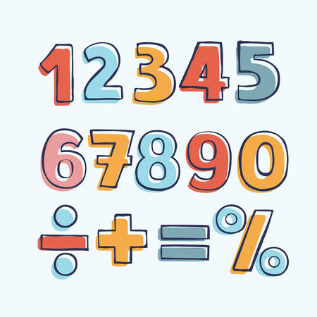 Vector cartoon set o of color hand drawn outline numbers, division, exclamation point, multiplication, percent, equals, minus Illustration
