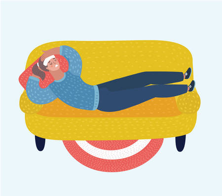 Vector cartoon illustration of adult woman lying on sofa with sickness. Sick female resting or laid up on couch, illness or desease. Girl with compress, suffering headache at home in apartment. Female characters in white isolated background. Ilustração