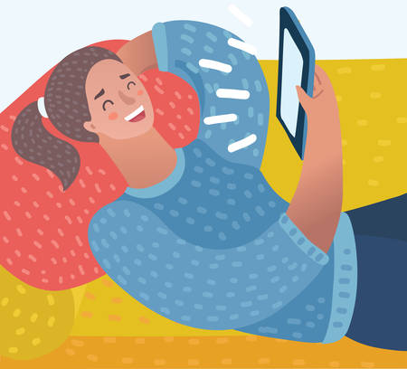 Vector cartoon illustration of girl with tablet computer laying on sofa. Watching movie. Close up. Female characters in white isolated background.