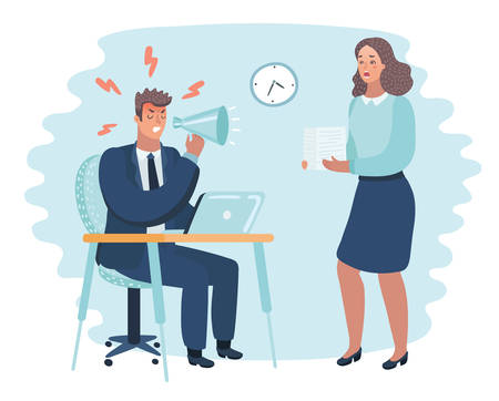 Vector cartoon illustration of angry boss and frightened employee. Man sitting at the table, woman bring pile of papers.