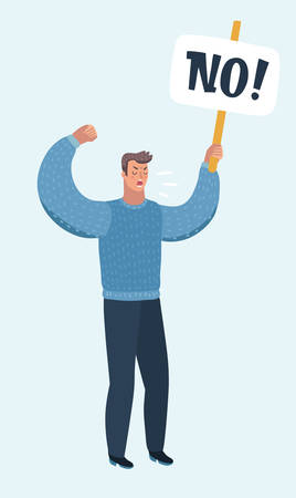 Vector cartoon illustration of man holding banner with no transparency, political protest activism. Concept of picket rights or against something. Male character on isolated balckground.