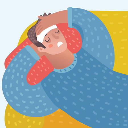 Vector cartoon illustration of cartoon man lying with a compress on the forehead on sofa and suffering with headache. Close up veiw.