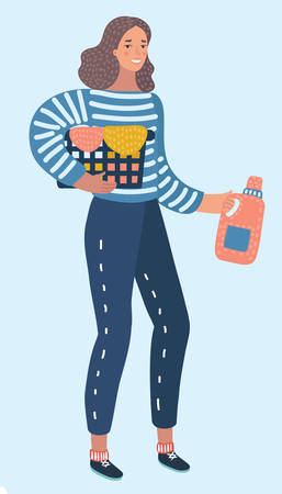 Vector cartoon illustration of Happy young woman holding clothes laundry chores basket. Female characters in white isolated background.