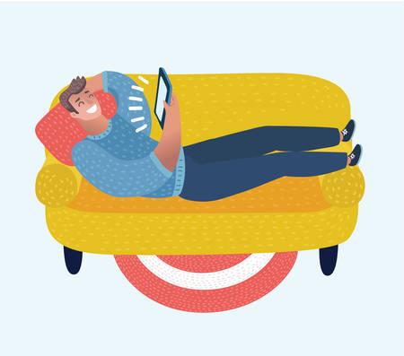 Ilustracja kreskówka wektor zabawny człowiek kreskówka na kanapie z tabletem w dłoniach. Postać w czerwonej koszulce leżącej, relaksująca i oglądająca film.