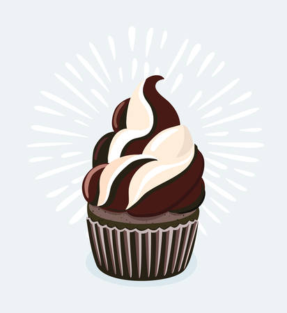 Vector cartoon illustration of Chocolate cupcakes on white background. Isolated object Illustration