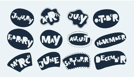Vector carton illustration of hand drawn lettering of month name in black and white color calendar made in vector on white background