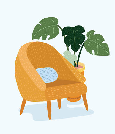 Vector cartoon illustration of classic retro yellow velvet armchair with wooden legs isolated on white background.