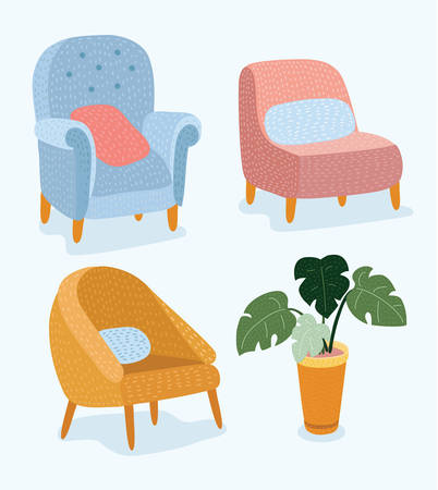 Vector cartoon funny illustration of set of hand drawn stylish furniture with wooden legs and the pot of a potted plant, Monstera