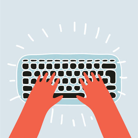 Hands on keyboard of computer Illustration