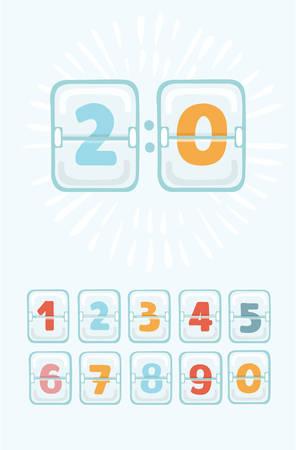 Vector cartoon funny illustration of mechanical scoreboard