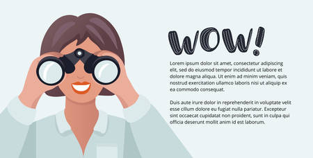 Vector horizontal banner with cartoon funny illustration of woman looking through binoculars Illustration