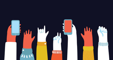Cartoon illustration of Hands up in The Air and take photos on smartphones. Ilustrace