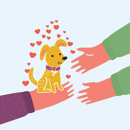 Vector cartoon cute funny illustration of puppy dog. Pet adoption. Puppy hold up to human hand. One person give dogs to another. White background, Isolated.