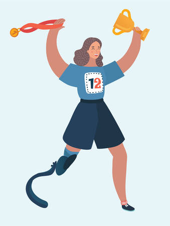 Vector cartoon illustration of a running disabled woman. Hold winter cup and gold medal for first. Girl with the prosthesis runs marathon. Female character on white isolated background.