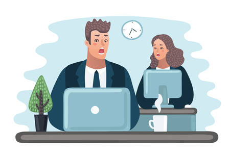 Cartoon illustration - problems with the computer, Scared office worker, screaming.