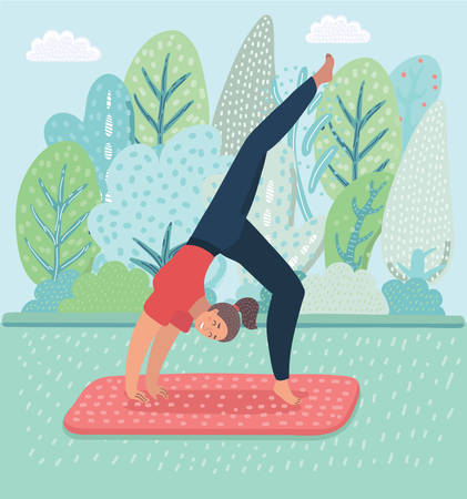 Vector illustration of woman practicing yoga concept
