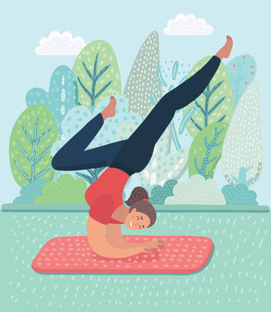 Vector cartoon illustration of cartoon yoga girl posa. Asanas pose. Fitness characters on park landscape background.