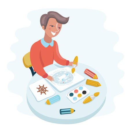 Vector cartoon funny illustration of cute happy boy painting with paint on the table. Accessories for painting on table