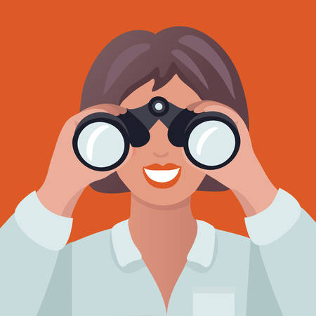 Vector cartoon illustration of woman holding binoculars. A woman in search.