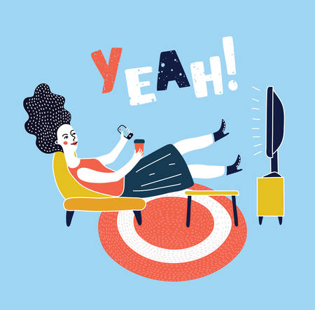 Vector cartoon illustration of woman watching television armchair and sitting in chair, drinking Ilustração