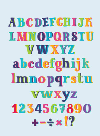 Vector cartoon funny hand drawn set of colorful Alphabet. Cute hand drawn serif letters, numbers and sights. Division, exclamation point, multiplication, percent, equals, minus in dark background